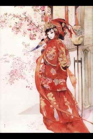 红嫁衣美女手绘手