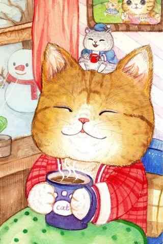 可爱手绘猫咪手机壁纸