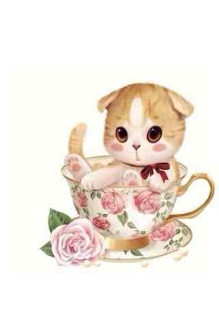 手绘可爱小猫咪手机壁纸