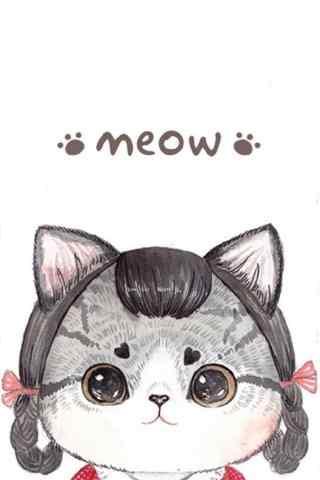 卡通手绘猫咪可爱手机壁纸