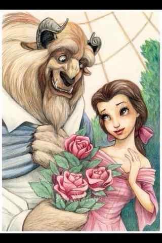 迪士尼动画《美女与野兽》手绘手机壁纸