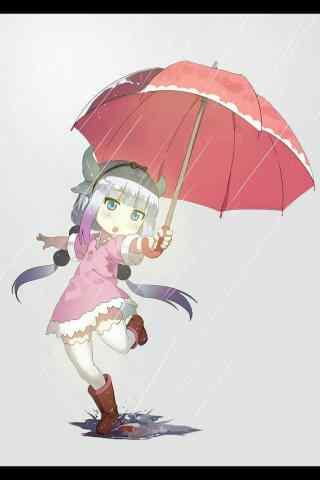 雨中玩耍的康娜手机壁纸