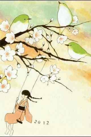 清明节习俗-打秋千的小女孩手机壁纸