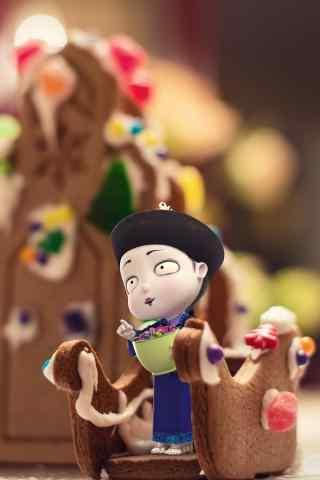 圣诞节僵小鱼吃饼干手机壁纸