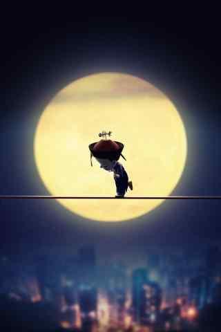 僵小鱼月光下走独木桥手机壁纸