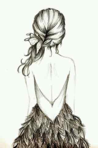 手绘裸背美女手机
