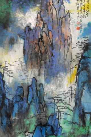 美丽的风景水墨画手机壁纸