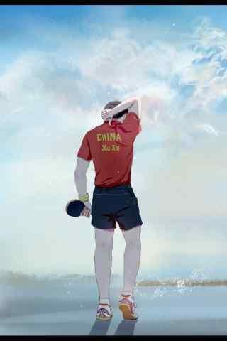 中国男乒队许昕手绘手机壁纸