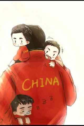 手绘刘国梁带领三个孩子手机壁纸