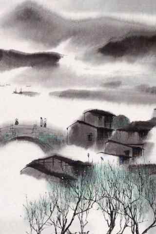 美丽的烟雨江南水墨画手机壁纸
