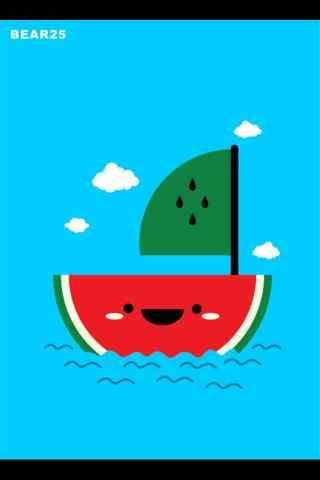 创意卡通西瓜船手机壁纸
