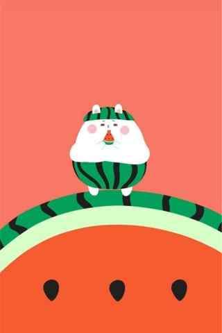 可爱的手绘西瓜手机聊天背景图