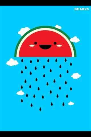 创意卡通西瓜雨手机壁纸