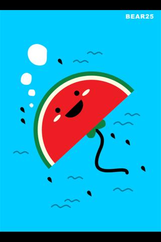 创意卡通西瓜鱼手机壁纸