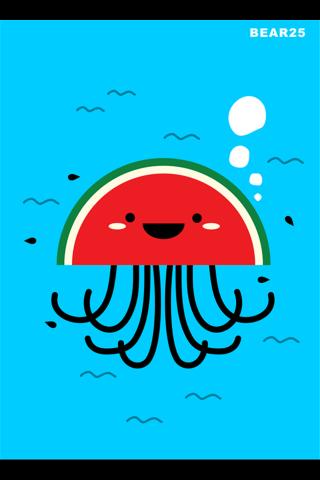 创意卡通西瓜章鱼手机壁纸