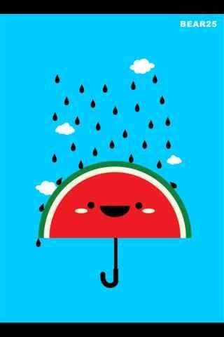 创意卡通西瓜雨伞手机壁纸