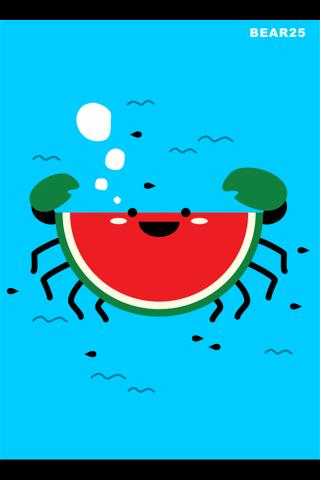 创意卡通西瓜螃蟹手机壁纸