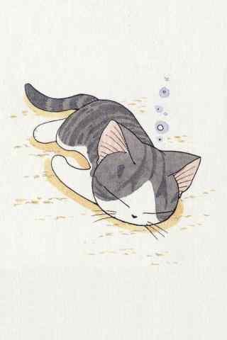 甜甜私房猫安静午睡的小起手机壁纸