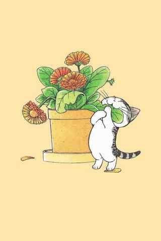 甜甜私房猫小起可爱破坏植物手机壁纸