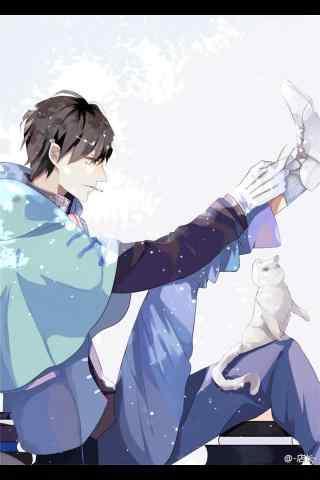 动漫全职高手叶修与猫咪手机壁纸