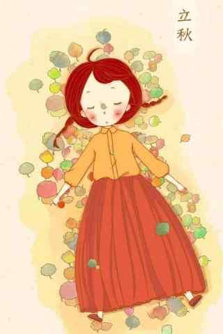 可爱手绘立秋手机壁纸