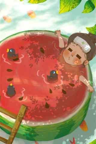 夏日清凉手绘西瓜
