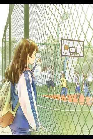 开学季之漫画少女手机壁纸