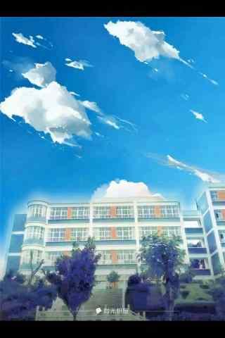 开学季之手绘校园风景手机壁纸
