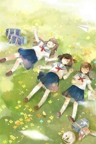 开学季之青春校园少女手机壁纸