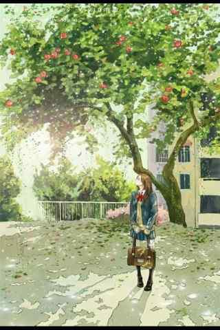 开学季之手绘美女手机壁纸