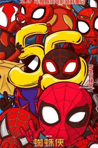 电影蜘蛛侠英雄归来卡通手机壁纸