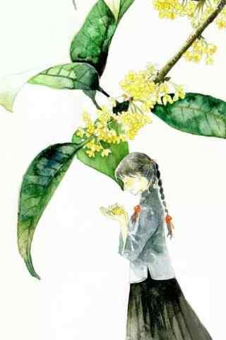 手绘桂花与少女手机壁纸
