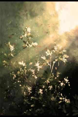 唯美的手绘桂花图片手机壁纸
