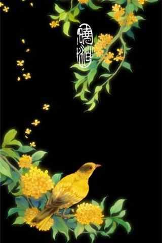 唯美手绘桂花图片壁纸