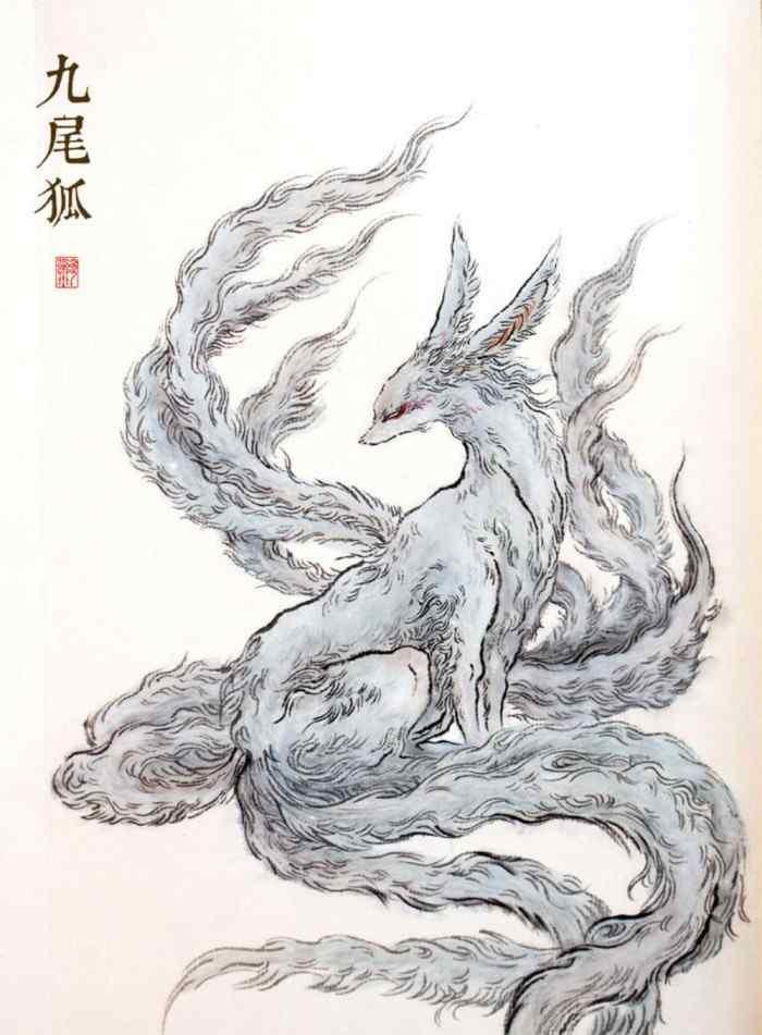 九尾狐手绘高清手机壁纸