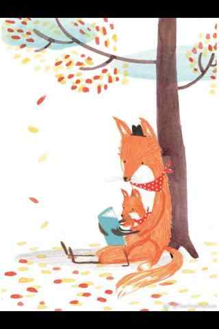 可爱的手绘狐狸手机锁屏壁纸