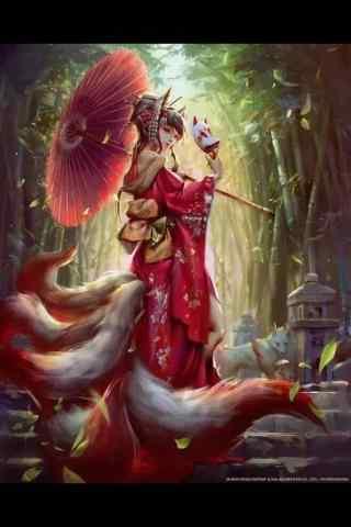 妩媚的九尾狐手绘手机壁纸