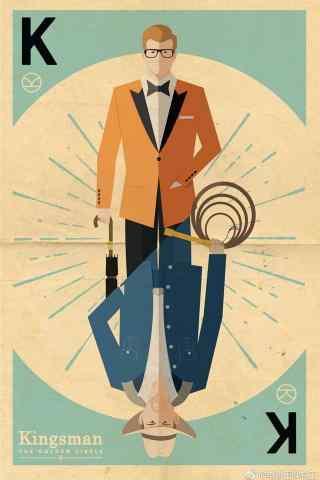 王牌特工2创意手绘手机海报