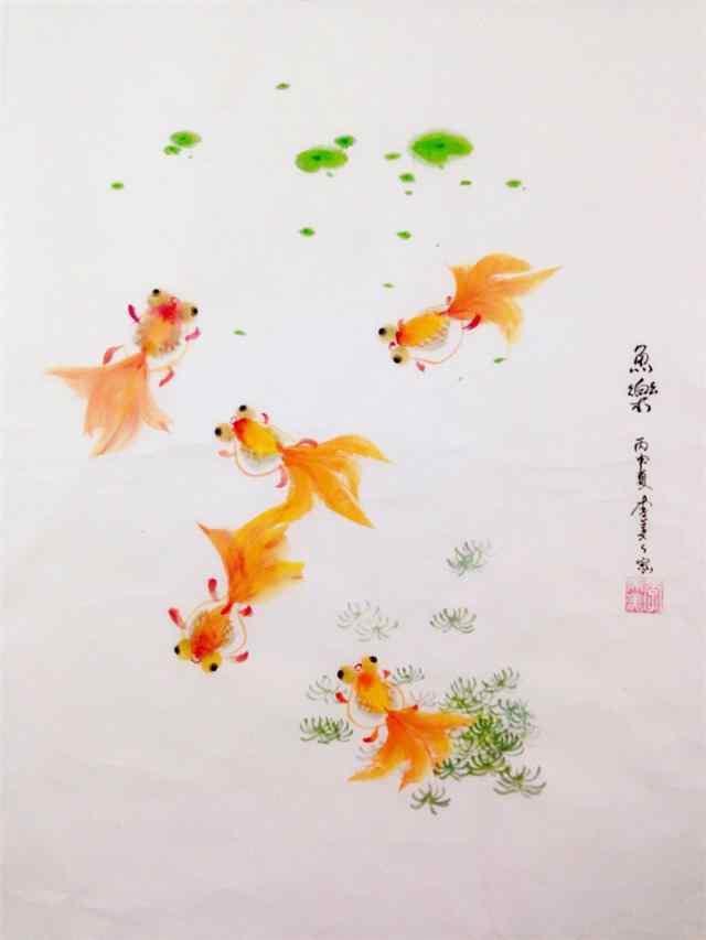 可爱手绘金鱼手机壁纸