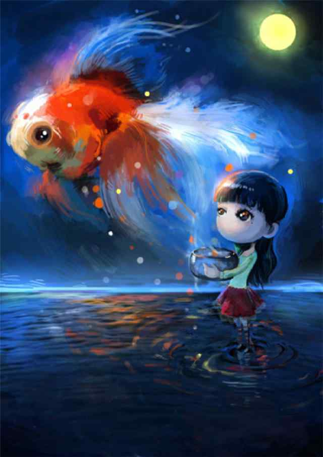 手绘少女与金鱼手机壁纸