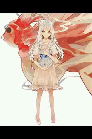 手绘金鱼与美少女手机壁纸