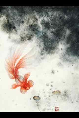 金鱼水墨画手机壁纸