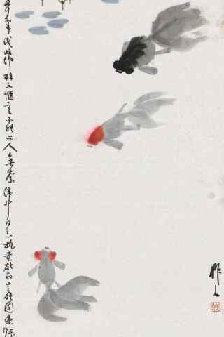 金鱼水墨画手机图片