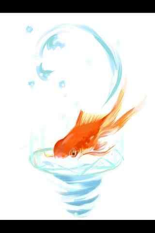 手绘金鱼唯美手机壁纸