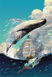手绘鲸鱼跃过帆船
