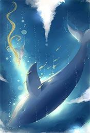 少女风手绘鲸鱼高