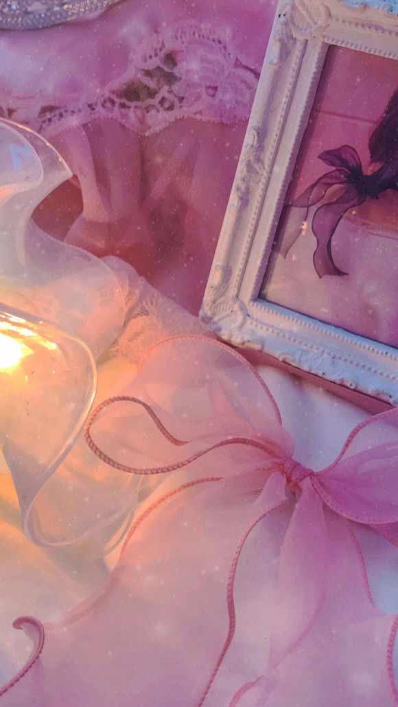 粉红色少女心蕾丝蝴蝶结房间手机壁纸