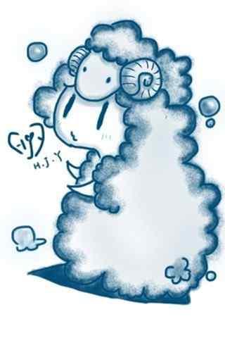 超可爱白羊座Q版小羊手机星座壁纸