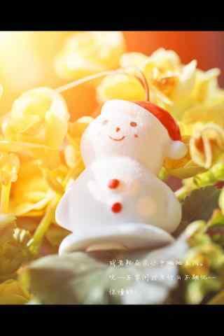 可爱的晒太阳的小雪人玩偶手机壁纸