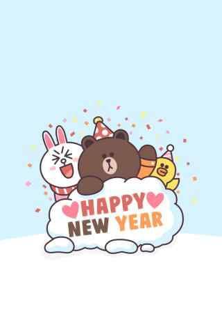 2017新年-line可爱小熊手机壁纸
